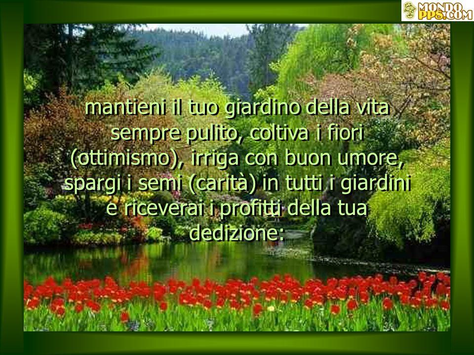 mantieni il tuo giardino della vita sempre pulito, coltiva i fiori (ottimismo), irriga con buon umore, spargi i semi (carità) in tutti i giardini e riceverai i profitti della tua dedizione: