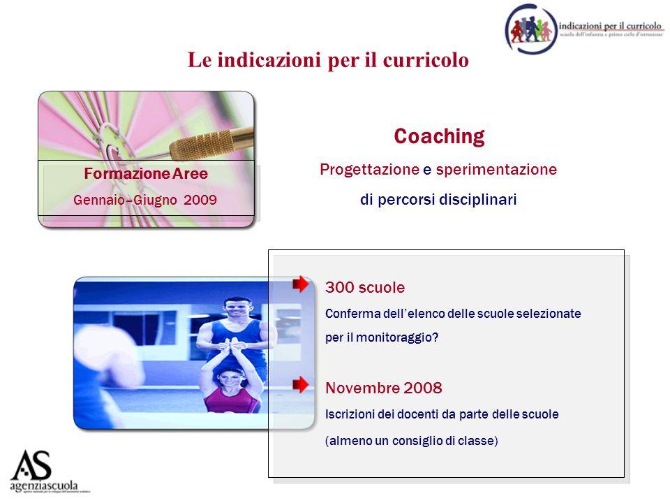 Formazione Aree Gennaio–Giugno 2009 Coaching Progettazione e sperimentazione di percorsi disciplinari 300 scuole Conferma dell'elenco delle scuole selezionate per il monitoraggio.