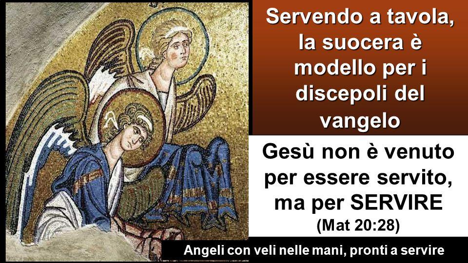 Gesù non è venuto per essere servito, ma per SERVIRE (Mat 20:28) Servendo a tavola, la suocera è modello per i discepoli del vangelo Angeli con veli nelle mani, pronti a servire