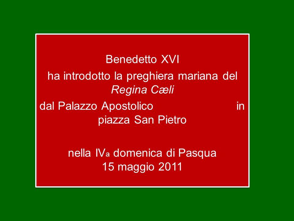 Benedetto XVI ha introdotto la preghiera mariana del Regina Cæli dal Palazzo Apostolico in piazza San Pietro nella IV a domenica di Pasqua 15 maggio 2011 Benedetto XVI ha introdotto la preghiera mariana del Regina Cæli dal Palazzo Apostolico in piazza San Pietro nella IV a domenica di Pasqua 15 maggio 2011