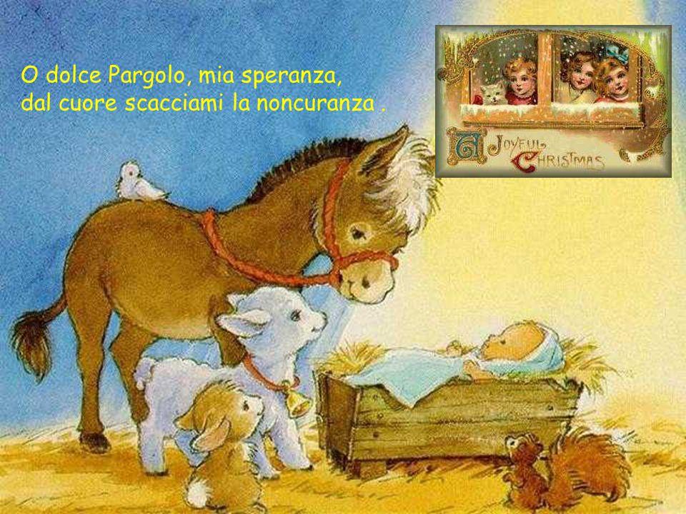 O dolce Pargolo, mia speranza, dal cuore scacciami la noncuranza.