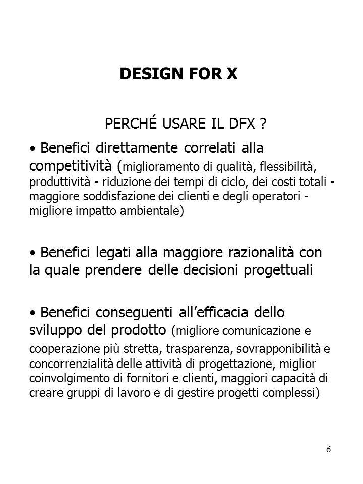 6 DESIGN FOR X PERCHÉ USARE IL DFX ? Benefici direttamente correlati alla competitività ( miglioramento di qualità, flessibilità, produttività - riduz