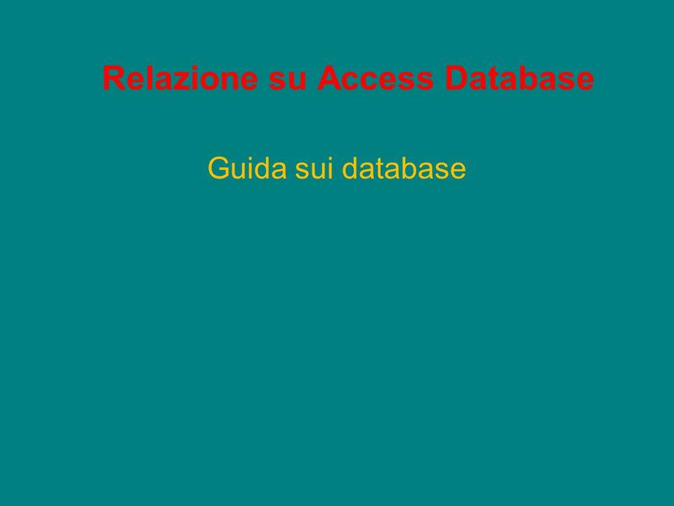 Relazione su Access Database Guida sui database