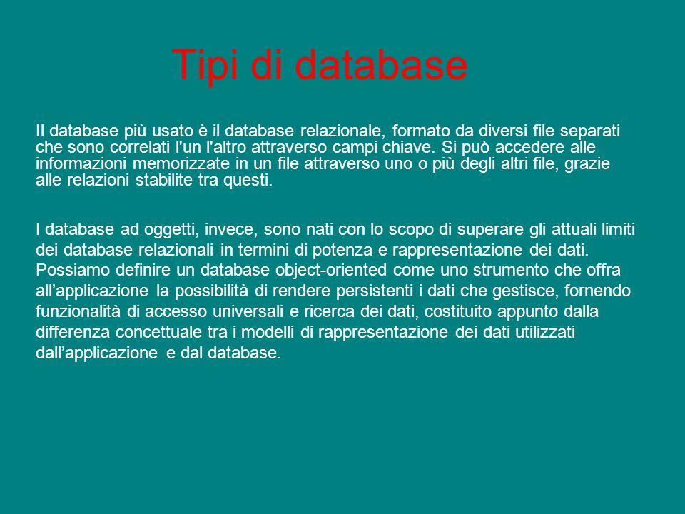 Tipi di database Il database più usato è il database relazionale, formato da diversi file separati che sono correlati l'un l'altro attraverso campi ch