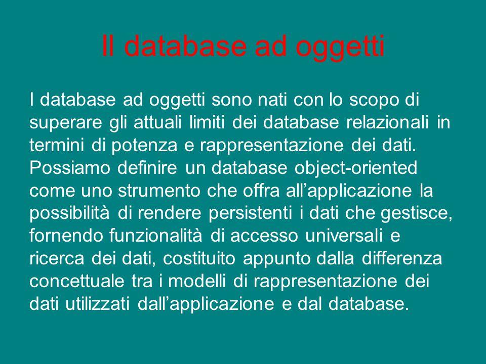 Il database ad oggetti I database ad oggetti sono nati con lo scopo di superare gli attuali limiti dei database relazionali in termini di potenza e ra