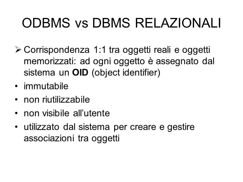 ODBMS vs DBMS RELAZIONALI  Corrispondenza 1:1 tra oggetti reali e oggetti memorizzati: ad ogni oggetto è assegnato dal sistema un OID (object identifier) immutabile non riutilizzabile non visibile all'utente utilizzato dal sistema per creare e gestire associazioni tra oggetti