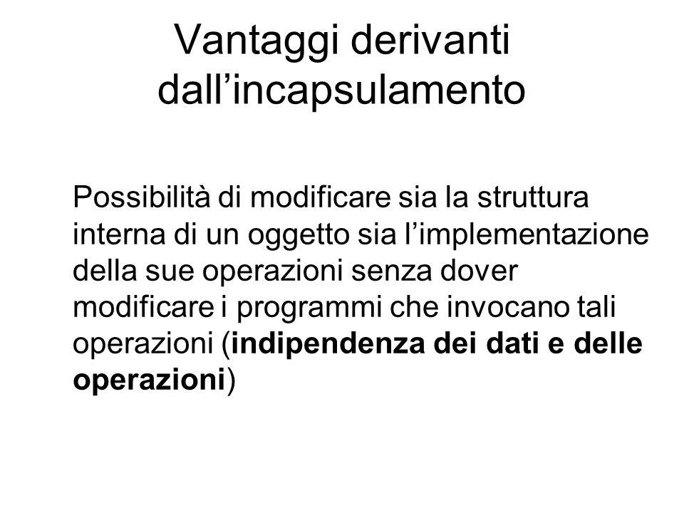 Vantaggi derivanti dall'incapsulamento Possibilità di modificare sia la struttura interna di un oggetto sia l'implementazione della sue operazioni sen