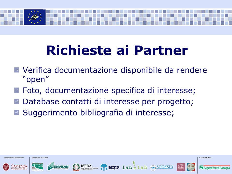 "Verifica documentazione disponibile da rendere ""open"" Foto, documentazione specifica di interesse; Database contatti di interesse per progetto; Sugger"