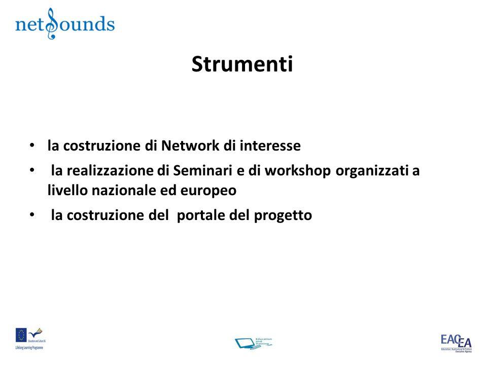 Strumenti la costruzione di Network di interesse la realizzazione di Seminari e di workshop organizzati a livello nazionale ed europeo la costruzione del portale del progetto