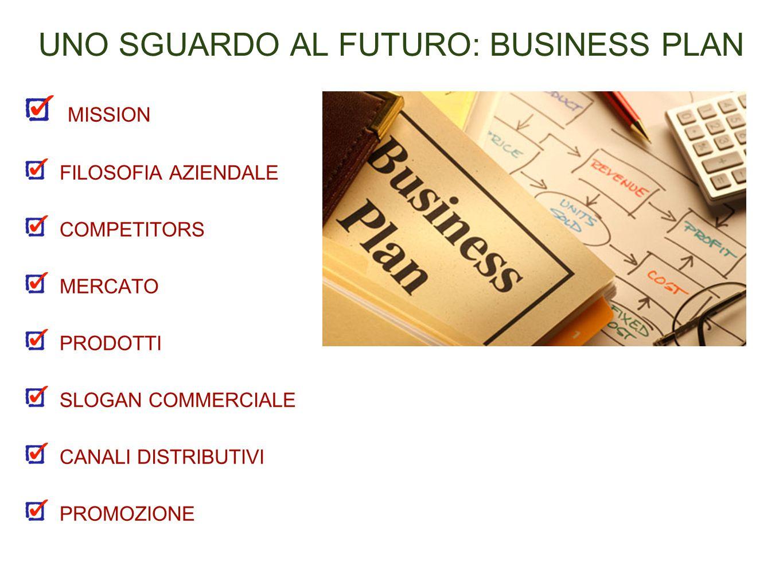 UNO SGUARDO AL FUTURO: BUSINESS PLAN MISSION FILOSOFIA AZIENDALE COMPETITORS MERCATO PRODOTTI SLOGAN COMMERCIALE CANALI DISTRIBUTIVI PROMOZIONE