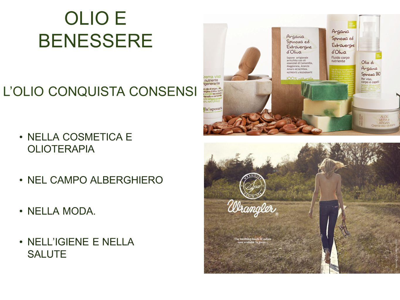 OLIO E BENESSERE NELLA COSMETICA E OLIOTERAPIA NEL CAMPO ALBERGHIERO NELLA MODA.