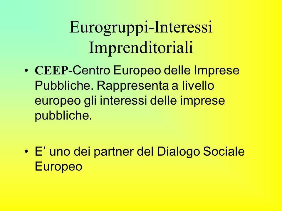 Eurogruppi-Interessi Imprenditoriali CEEP- Centro Europeo delle Imprese Pubbliche.