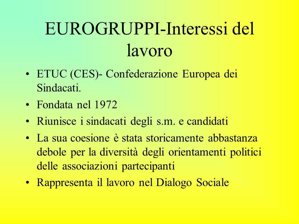 EUROGRUPPI-Interessi del lavoro ETUC (CES)- Confederazione Europea dei Sindacati.