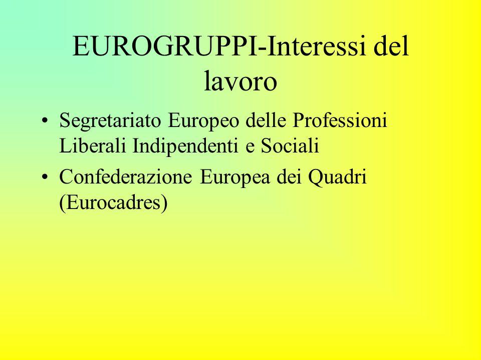 EUROGRUPPI-Interessi del lavoro Segretariato Europeo delle Professioni Liberali Indipendenti e Sociali Confederazione Europea dei Quadri (Eurocadres)