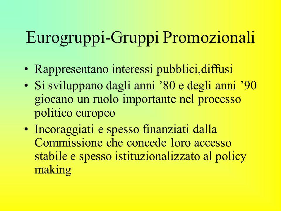 Eurogruppi-Gruppi Promozionali Rappresentano interessi pubblici,diffusi Si sviluppano dagli anni '80 e degli anni '90 giocano un ruolo importante nel processo politico europeo Incoraggiati e spesso finanziati dalla Commissione che concede loro accesso stabile e spesso istituzionalizzato al policy making