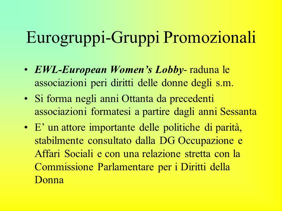 Eurogruppi-Gruppi Promozionali EWL-European Women's Lobby- raduna le associazioni peri diritti delle donne degli s.m.