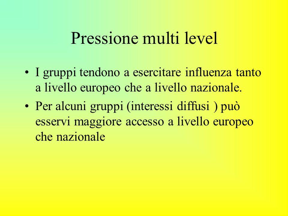 Pressione multi level I gruppi tendono a esercitare influenza tanto a livello europeo che a livello nazionale.