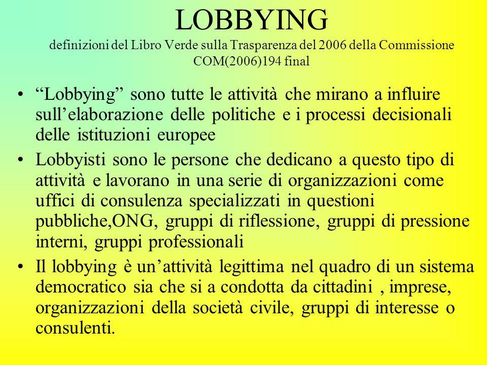 LOBBYING definizioni del Libro Verde sulla Trasparenza del 2006 della Commissione COM(2006)194 final Lobbying sono tutte le attività che mirano a influire sull'elaborazione delle politiche e i processi decisionali delle istituzioni europee Lobbyisti sono le persone che dedicano a questo tipo di attività e lavorano in una serie di organizzazioni come uffici di consulenza specializzati in questioni pubbliche,ONG, gruppi di riflessione, gruppi di pressione interni, gruppi professionali Il lobbying è un'attività legittima nel quadro di un sistema democratico sia che si a condotta da cittadini, imprese, organizzazioni della società civile, gruppi di interesse o consulenti.