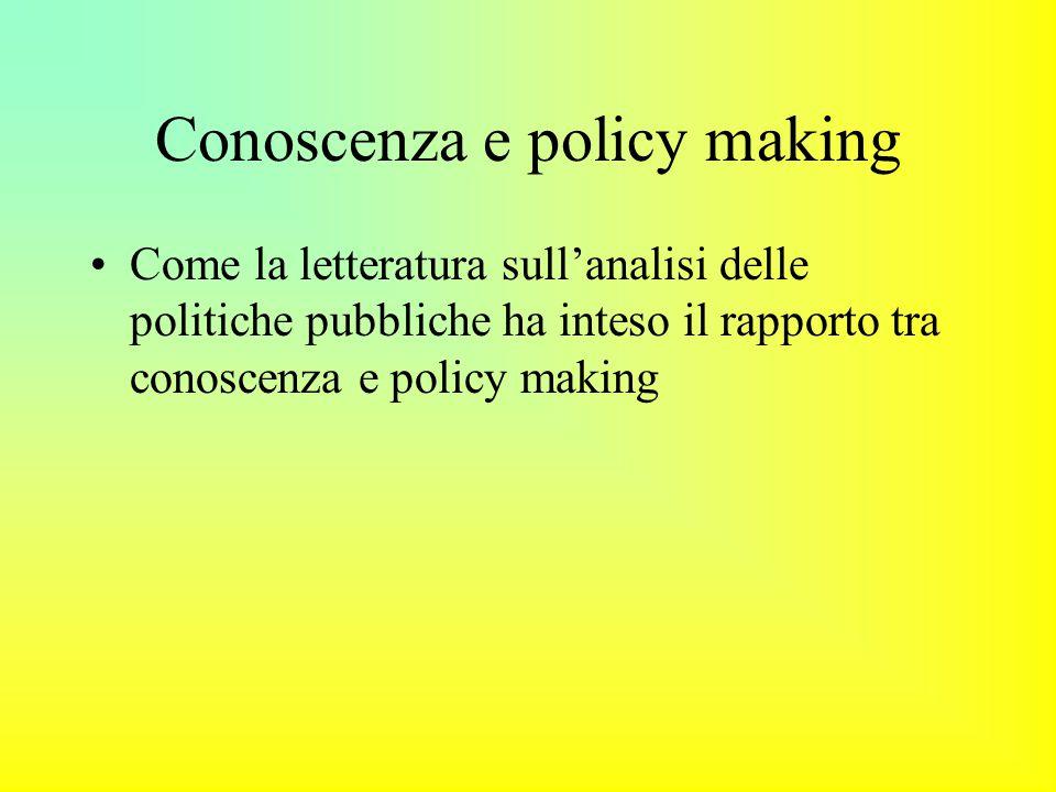 Conoscenza e policy making Come la letteratura sull'analisi delle politiche pubbliche ha inteso il rapporto tra conoscenza e policy making