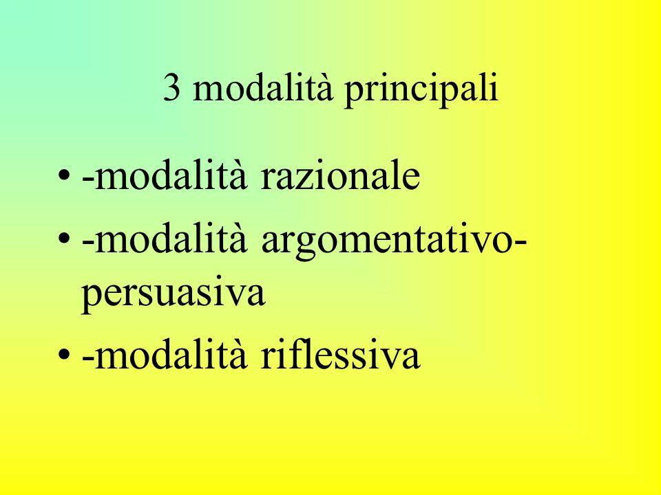 3 modalità principali -modalità razionale -modalità argomentativo- persuasiva -modalità riflessiva