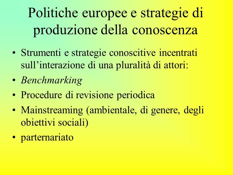 Politiche europee e strategie di produzione della conoscenza Strumenti e strategie conoscitive incentrati sull'interazione di una pluralità di attori: Benchmarking Procedure di revisione periodica Mainstreaming (ambientale, di genere, degli obiettivi sociali) parternariato