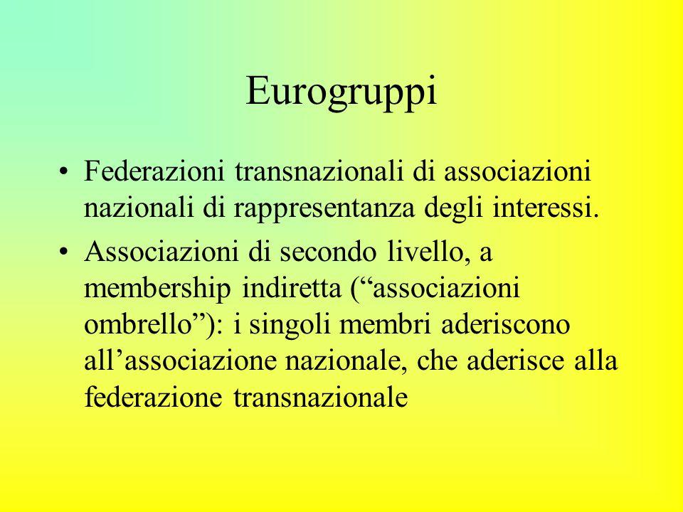 Eurogruppi Federazioni transnazionali di associazioni nazionali di rappresentanza degli interessi.
