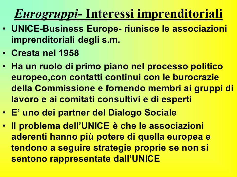 Eurogruppi- Interessi imprenditoriali UNICE-Business Europe- riunisce le associazioni imprenditoriali degli s.m.