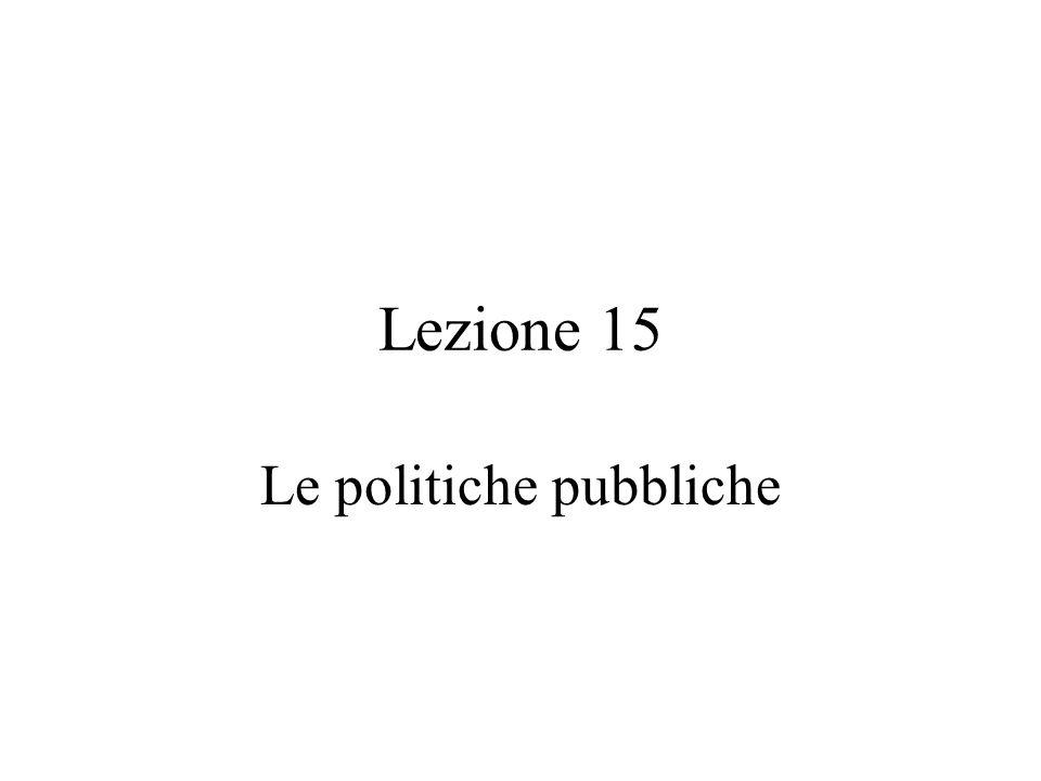 Politica Pubblica: alcune definizioni (1) Una politica pubblica è qualsiasi cosa un governo decida di fare o di non fare .