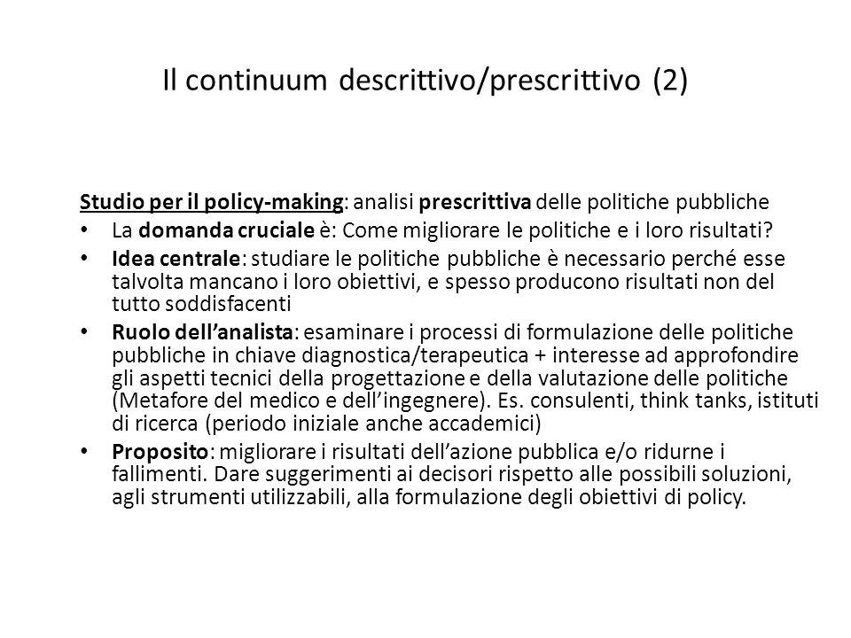 Il continuum descrittivo/prescrittivo (2) Studio per il policy-making: analisi prescrittiva delle politiche pubbliche La domanda cruciale è: Come migl