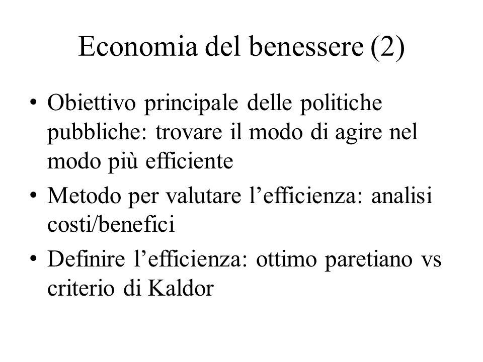 Economia del benessere (2) Obiettivo principale delle politiche pubbliche: trovare il modo di agire nel modo più efficiente Metodo per valutare l'effi