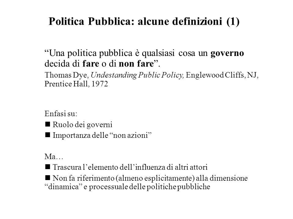 """Politica Pubblica: alcune definizioni (1) """"Una politica pubblica è qualsiasi cosa un governo decida di fare o di non fare"""". Thomas Dye, Undestanding P"""