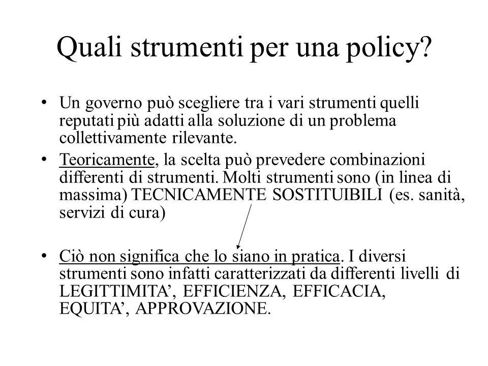 Quali strumenti per una policy? Un governo può scegliere tra i vari strumenti quelli reputati più adatti alla soluzione di un problema collettivamente