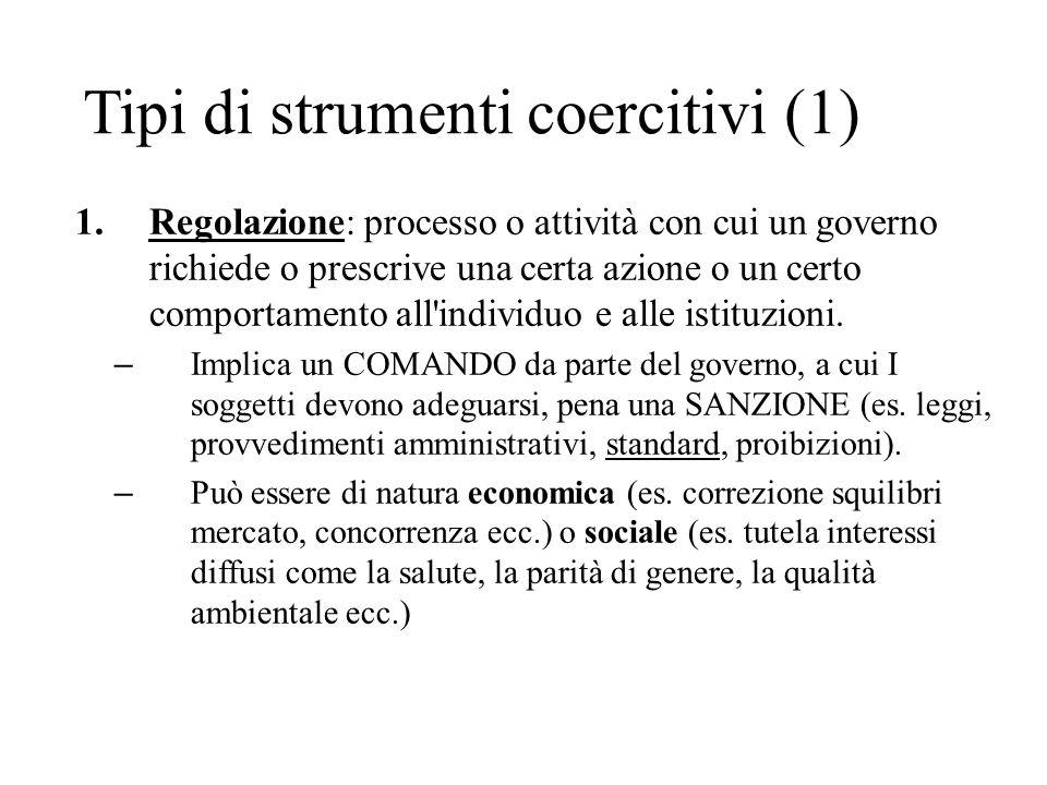 Tipi di strumenti coercitivi (1) 1.Regolazione: processo o attività con cui un governo richiede o prescrive una certa azione o un certo comportamento