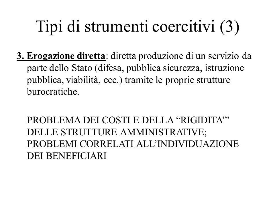 Tipi di strumenti coercitivi (3) 3. Erogazione diretta: diretta produzione di un servizio da parte dello Stato (difesa, pubblica sicurezza, istruzione