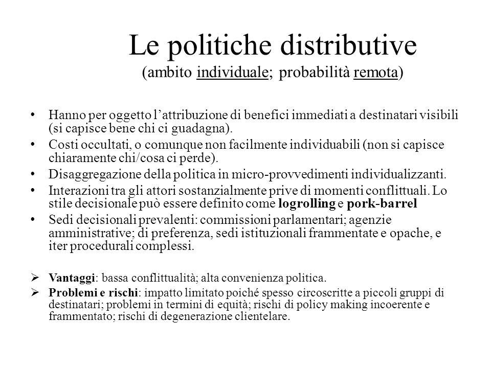 Le politiche distributive (ambito individuale; probabilità remota) Hanno per oggetto l'attribuzione di benefici immediati a destinatari visibili (si capisce bene chi ci guadagna).
