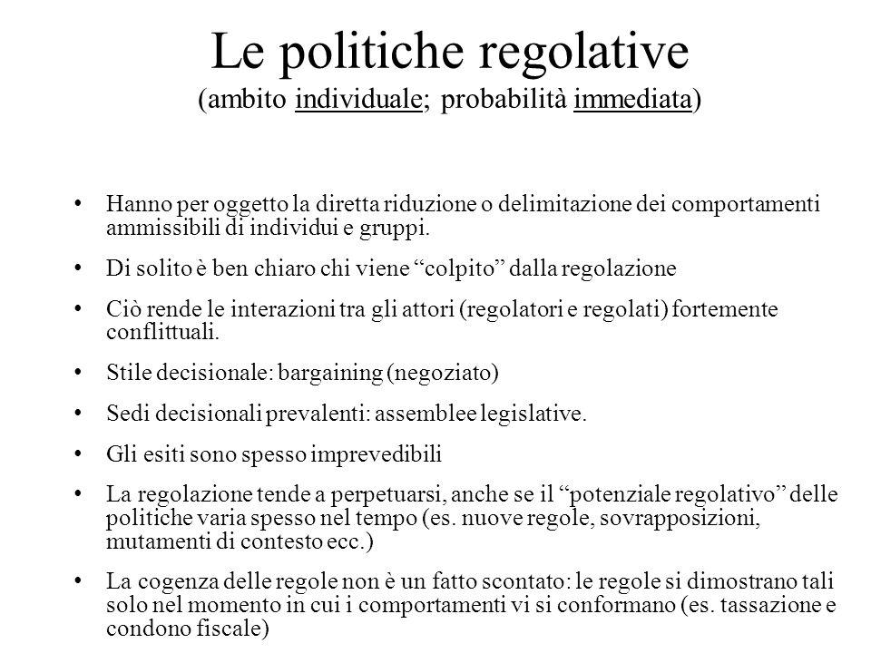 Le politiche regolative (ambito individuale; probabilità immediata) Hanno per oggetto la diretta riduzione o delimitazione dei comportamenti ammissibili di individui e gruppi.