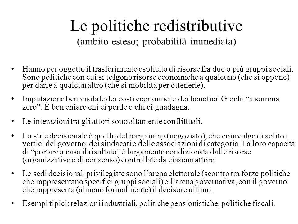 Le politiche redistributive (ambito esteso; probabilità immediata) Hanno per oggetto il trasferimento esplicito di risorse fra due o più gruppi sociali.