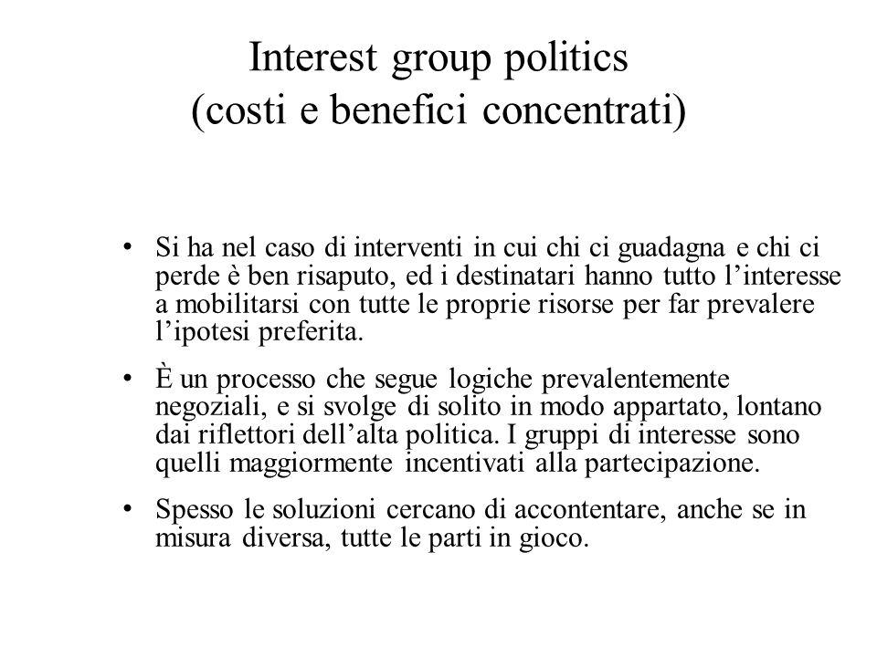 Interest group politics (costi e benefici concentrati) Si ha nel caso di interventi in cui chi ci guadagna e chi ci perde è ben risaputo, ed i destinatari hanno tutto l'interesse a mobilitarsi con tutte le proprie risorse per far prevalere l'ipotesi preferita.