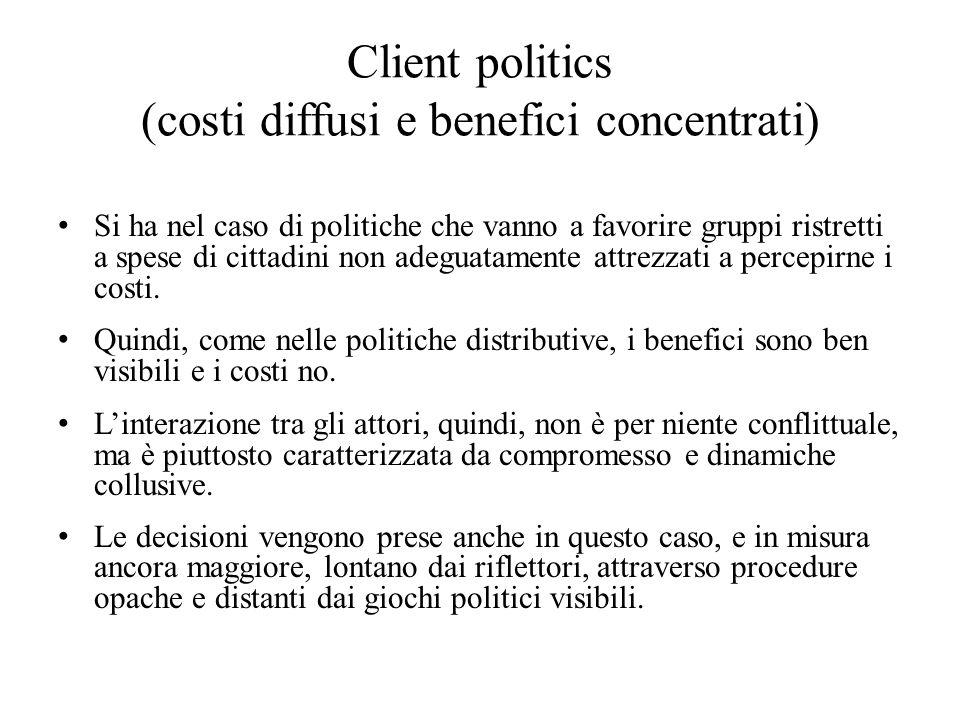 Client politics (costi diffusi e benefici concentrati) Si ha nel caso di politiche che vanno a favorire gruppi ristretti a spese di cittadini non adeguatamente attrezzati a percepirne i costi.