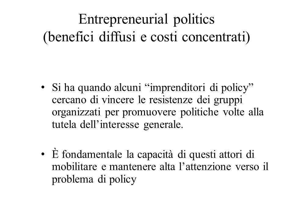"""Entrepreneurial politics (benefici diffusi e costi concentrati) Si ha quando alcuni """"imprenditori di policy"""" cercano di vincere le resistenze dei grup"""