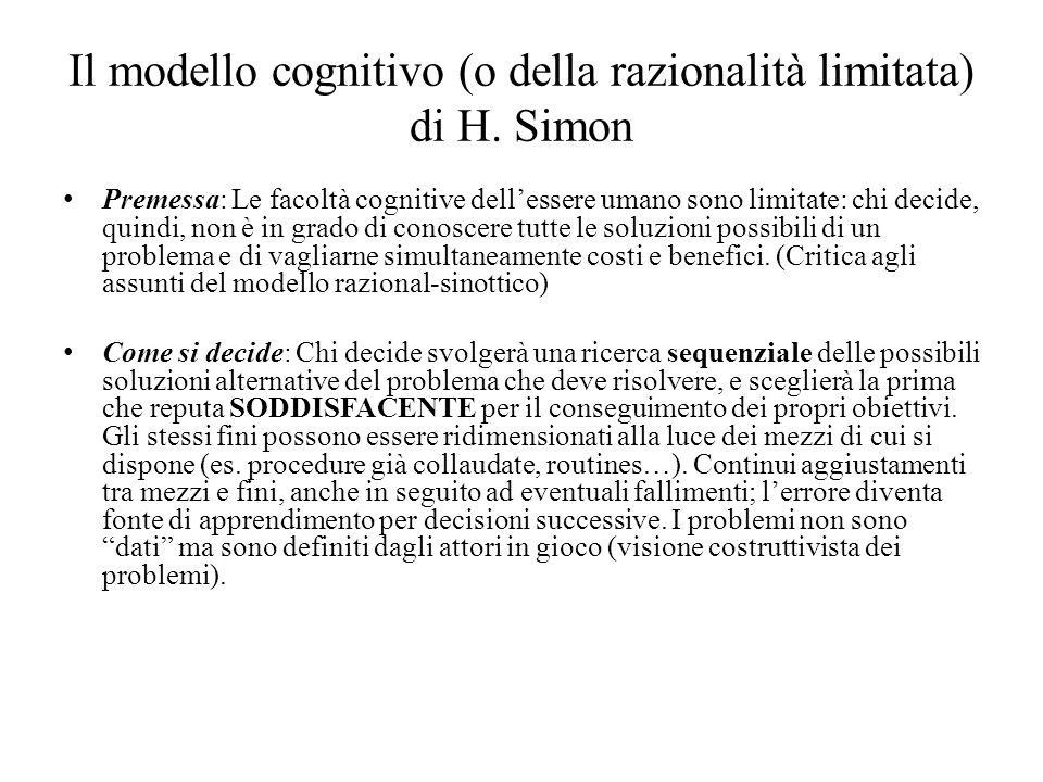 Il modello cognitivo (o della razionalità limitata) di H.