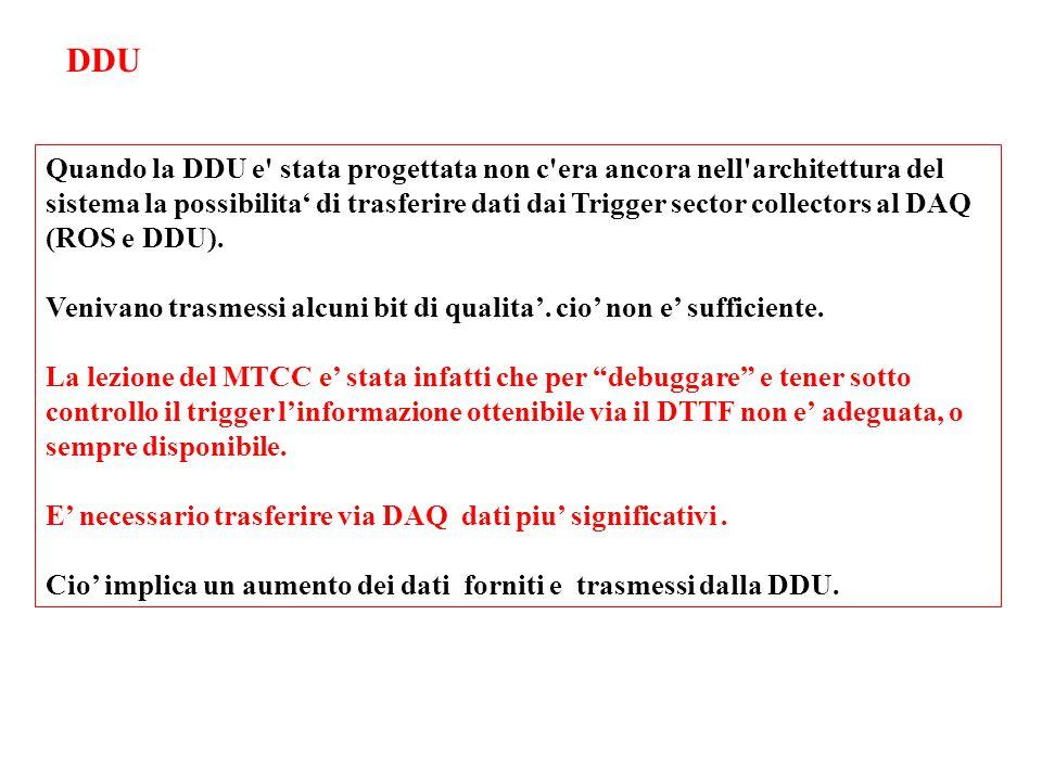 Quando la DDU e stata progettata non c era ancora nell architettura del sistema la possibilita' di trasferire dati dai Trigger sector collectors al DAQ (ROS e DDU).