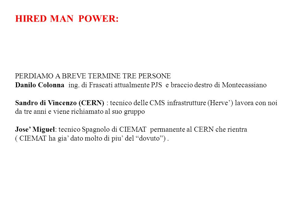 HIRED MAN POWER: PERDIAMO A BREVE TERMINE TRE PERSONE Danilo Colonna ing.