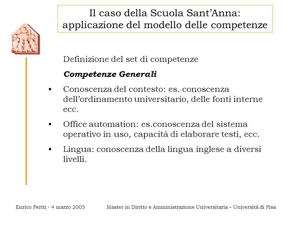 Master in Diritto e Amministrazione Universitaria – Università di PisaEnrico Periti - 4 marzo 2005 Definizione del set di competenze Competenze Generali Conoscenza del contesto: es.