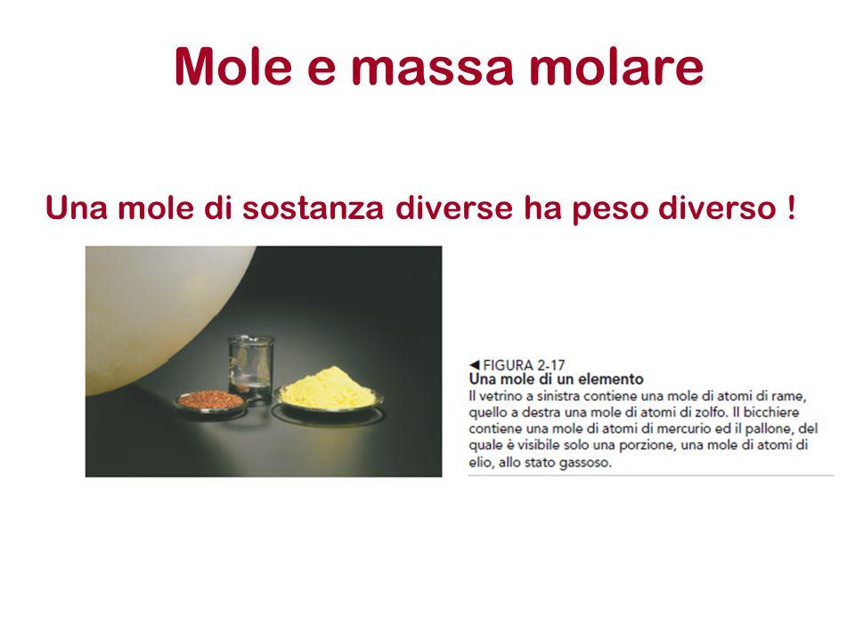 Mole e massa molare Una mole di sostanza diverse ha peso diverso !