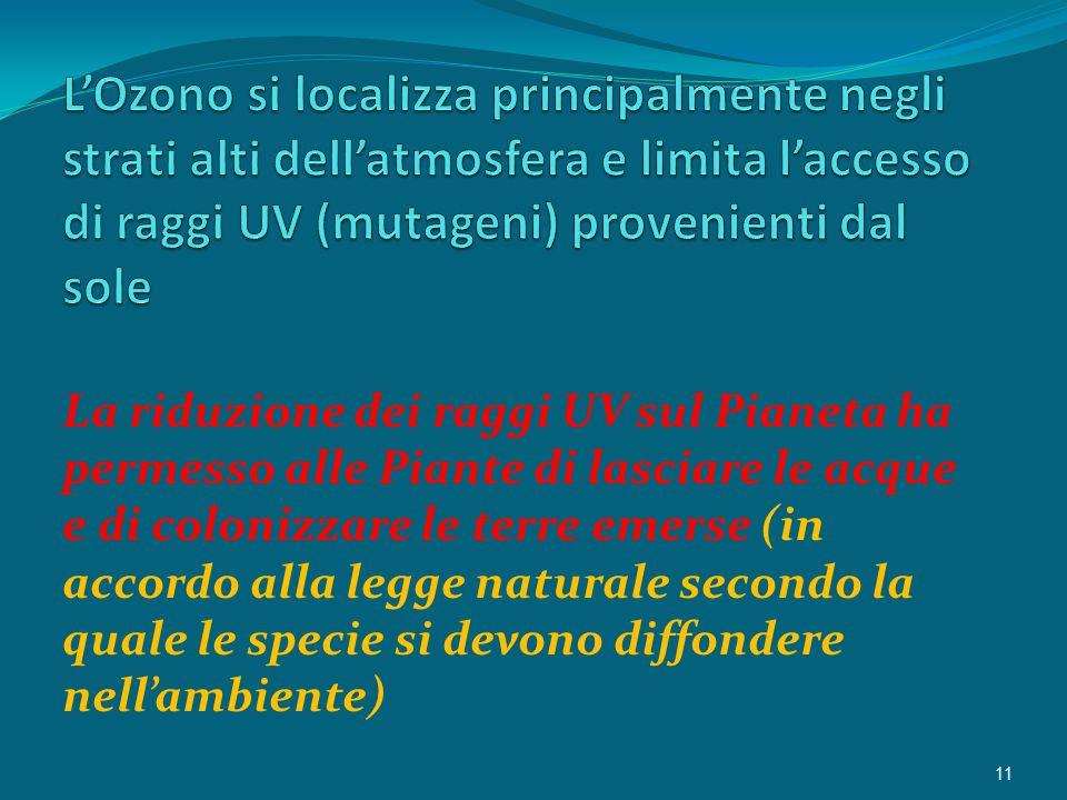 La riduzione dei raggi UV sul Pianeta ha permesso alle Piante di lasciare le acque e di colonizzare le terre emerse (in accordo alla legge naturale secondo la quale le specie si devono diffondere nell'ambiente) 11