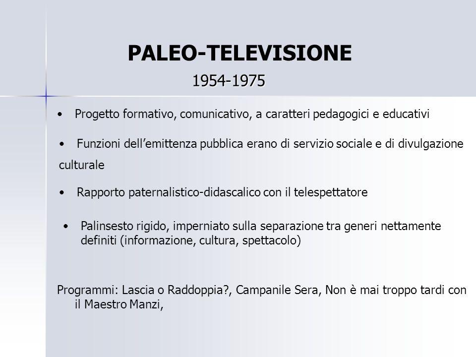 PALEO-TELEVISIONE 1954-1975 Progetto formativo, comunicativo, a caratteri pedagogici e educativi Funzioni dell'emittenza pubblica erano di servizio so