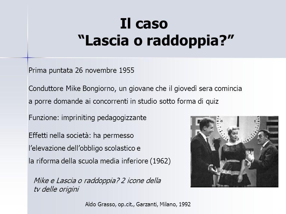 """Il caso """"Lascia o raddoppia?"""" Prima puntata 26 novembre 1955 Conduttore Mike Bongiorno, un giovane che il giovedì sera comincia a porre domande ai con"""
