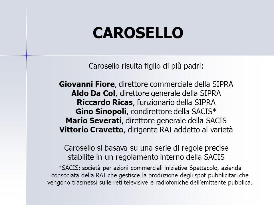 CAROSELLO Carosello risulta figlio di più padri: Giovanni Fiore, direttore commerciale della SIPRA Aldo Da Col, direttore generale della SIPRA Riccard