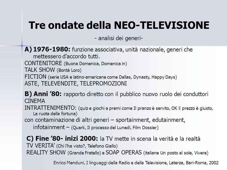 Tre ondate della NEO-TELEVISIONE Enrico Menduni, I linguaggi della Radio e della Televisione, Laterza, Bari-Roma, 2002 A)1976-1980: funzione associati